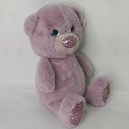 Мягкая игрушка Пушистик Медвежонок цвет сиреневый