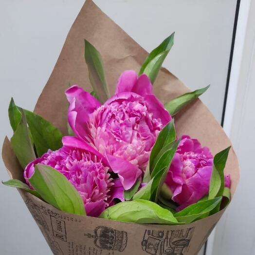 3 пиона (по Вашему желанию предложим другие расцветки и увеличим количество)