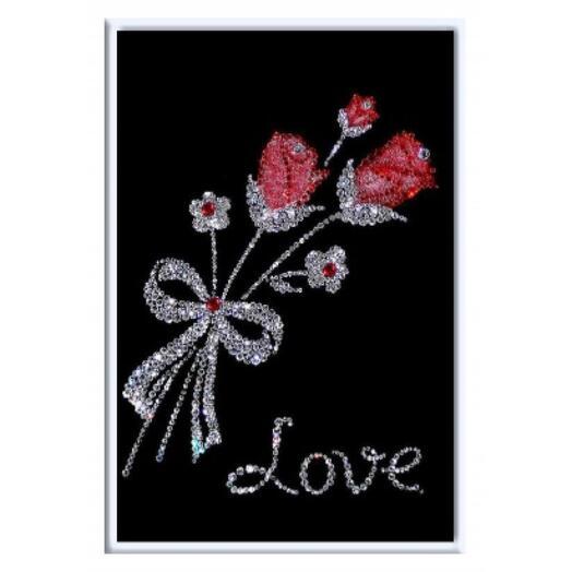 "Картина с кристаллами Swarovski ""Букет роз"""
