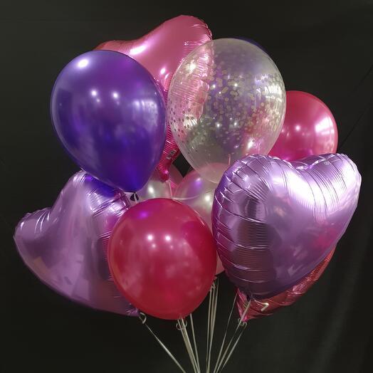 Связка шаров: 4 сердца + 2 с конфетти + 5 однотонных