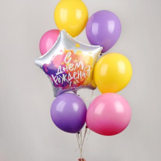 Набор шаров «С днём рождения», звезда, латекс, фольга, набор 7 шт