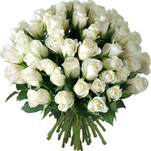 51 белая роза 60 см: букеты цветов на заказ Flowwow