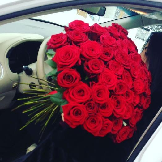 Букет из 55 красных роз 80 см: букеты цветов на заказ Flowwow
