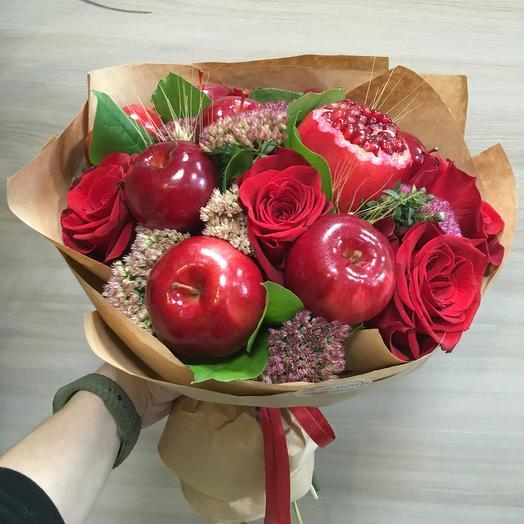 Фруктовый букет с цветами: букеты цветов на заказ Flowwow