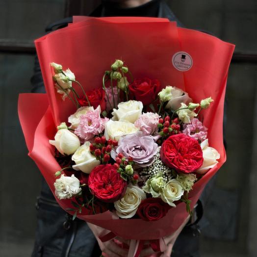 Яркий красный букет: букеты цветов на заказ Flowwow