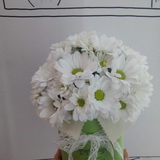 Букет в коробке из хризантемы: букеты цветов на заказ Flowwow