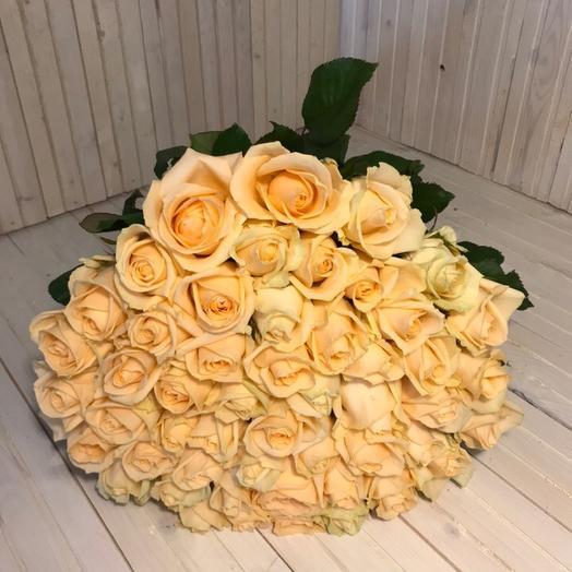 51 роза Пич Аваланж: букеты цветов на заказ Flowwow