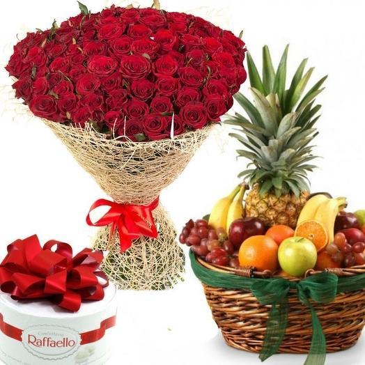 Подарочный набор 101 роза: букеты цветов на заказ Flowwow