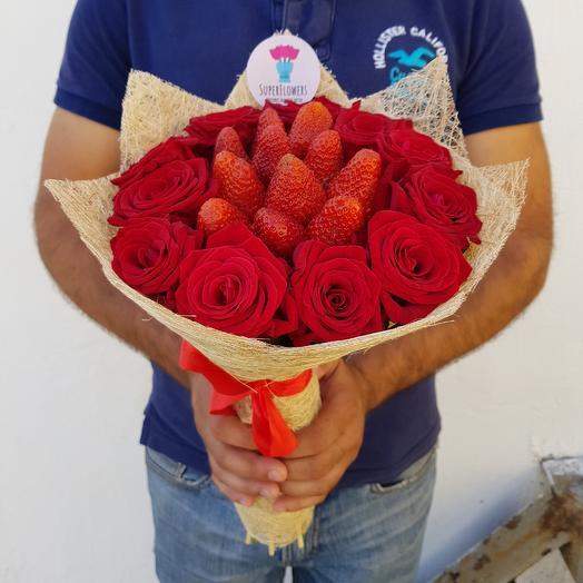 Клубничная прелесть: букеты цветов на заказ Flowwow