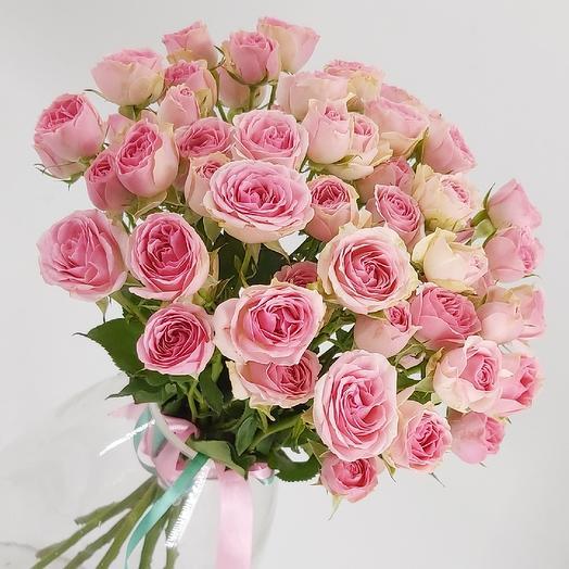 9 розовых кустовых розочек