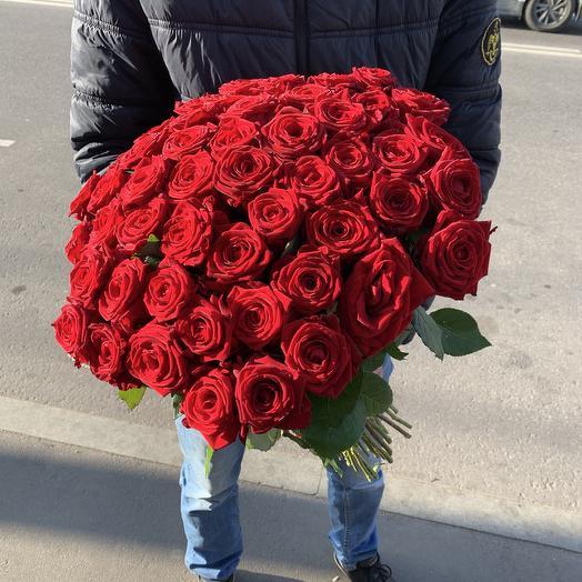 Букет из 51 красной розы 50 см: букеты цветов на заказ Flowwow