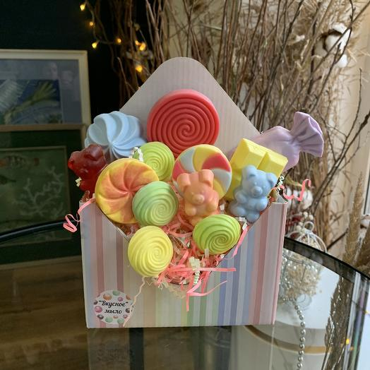 Мыльный « сладкий конверт»: букеты цветов на заказ Flowwow