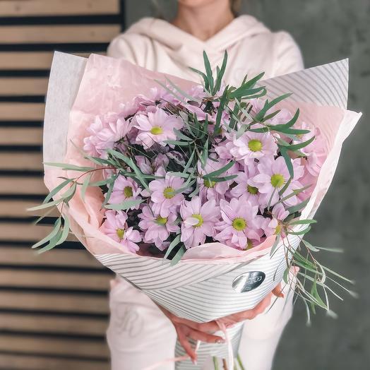 Букет из розовой кустовой хризантемы