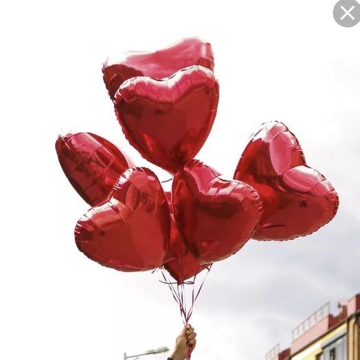 Шарики сердца красные 7 шт