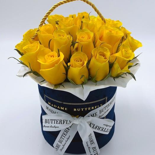 Мини вельвет синяя. 23 жёлтые розы