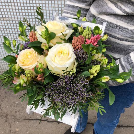 Ящик Телега: букеты цветов на заказ Flowwow