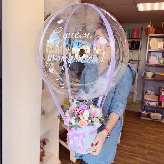 цветочная коробка с шаром
