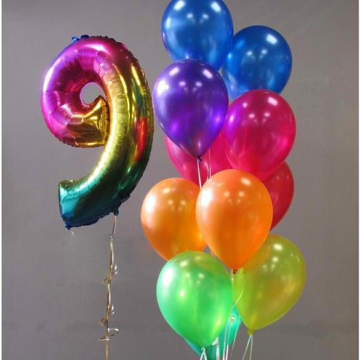 Цифра + 11 разноцветных шариков