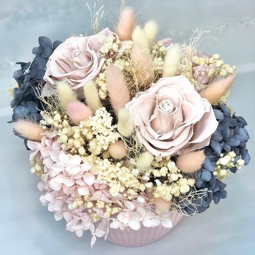 Кашпо с розами