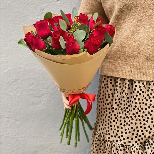 Букет из 15 роз в крафте