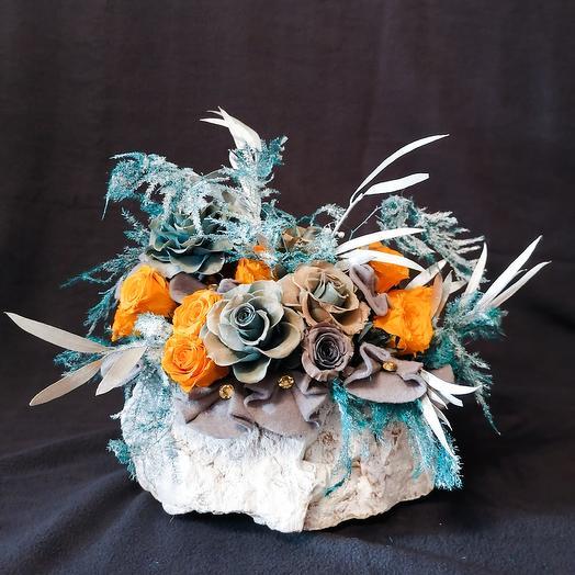 Кашпо Морозное Утро стабилизированные цветы