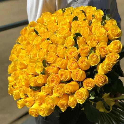 101 желтая Роза 60 см
