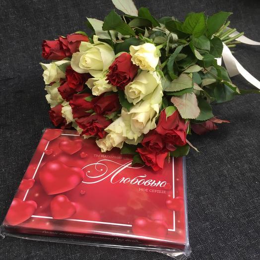 Розы и шоколад 🌹Кения 25 шт