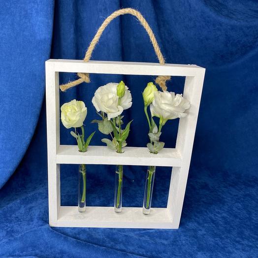 Цветы эустома в деревянной стойке с пробирками