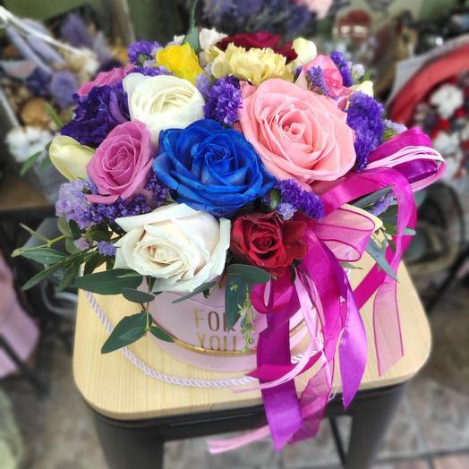 Коробка с цветами Радуга