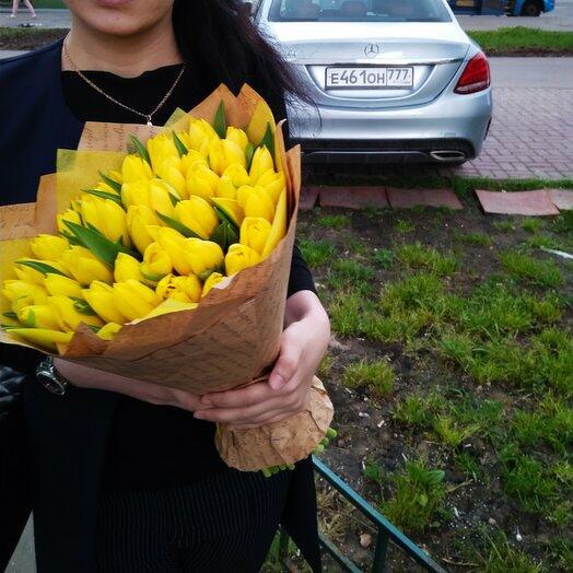 45 желтых голландских тюльпанов