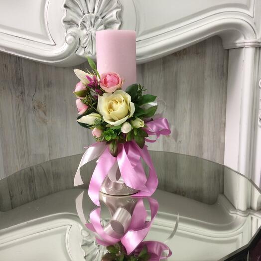 Подсвечник с декоративными цветами и ароматической тающей свечой