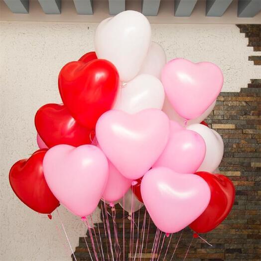 Связка 7 шаров сердце латекс разноцветные