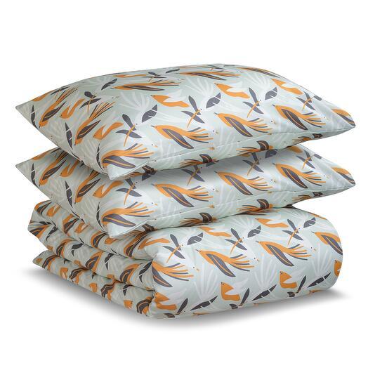 Комплект постельного белья полутораспальный из сатина темно-серого цвета в принтом birds of nile из  Tkano TK20-DC0005
