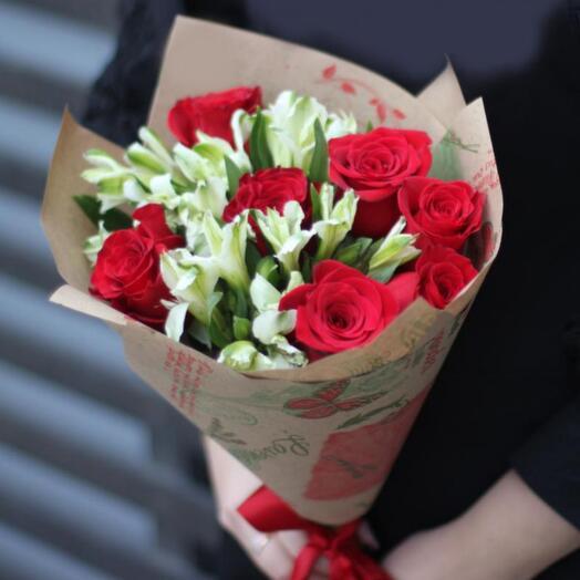 Альстромерии и розы 9