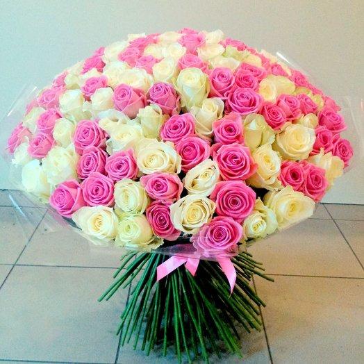Букет 101 роза белая и розовая