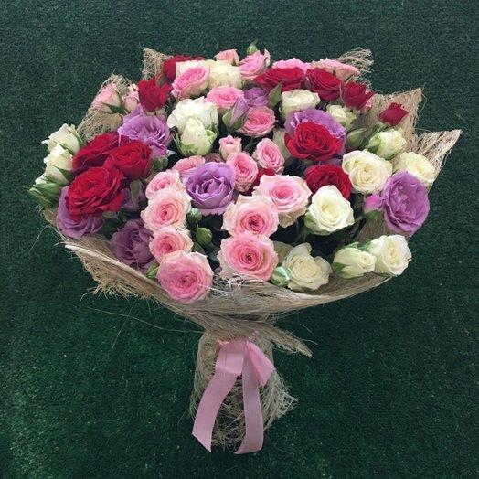 Микс из 15 кустовых роз: букеты цветов на заказ Flowwow