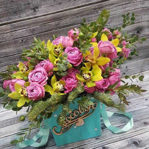 Просто шикарная коробка с Розами и Орхидеями
