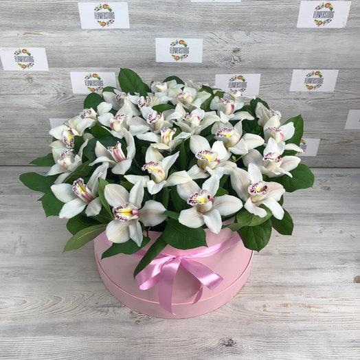 Коробка королевских орхидей : букеты цветов на заказ Flowwow
