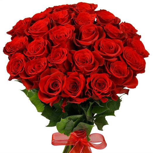 Букет из 25 красных роз для мамы