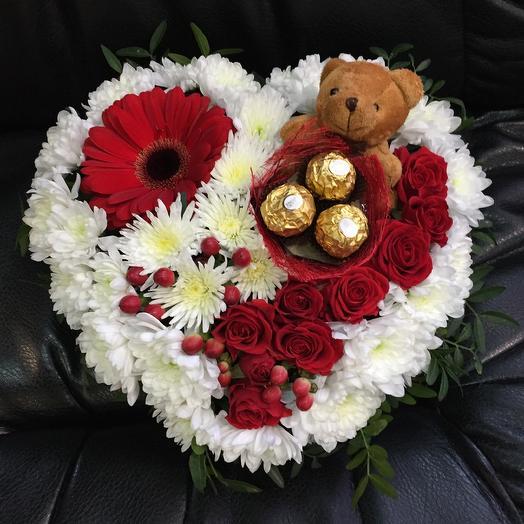 Сердечко с сюрпризом💝: букеты цветов на заказ Flowwow