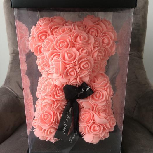 Мишка 3D из латексных роз: букеты цветов на заказ Flowwow