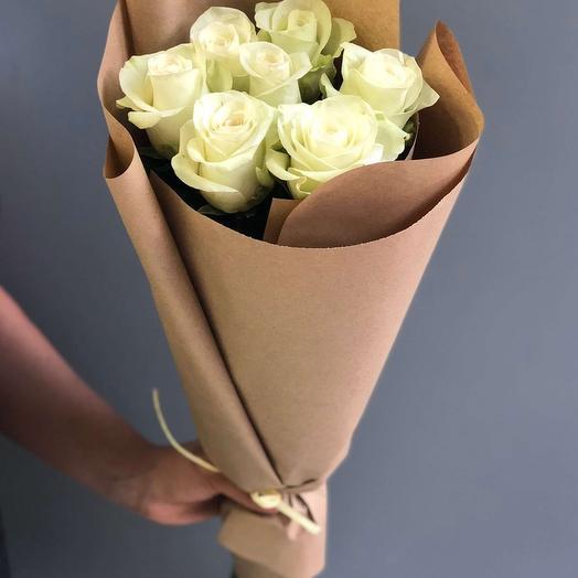 """Букет из 7 белых роз """"Изольда"""": букеты цветов на заказ Flowwow"""