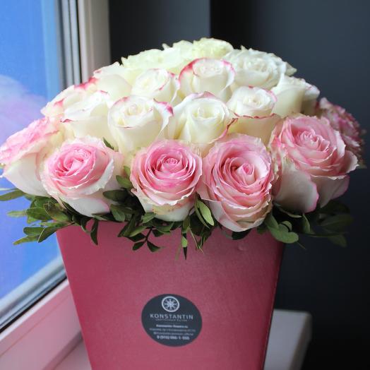 Коробка с розами 3-х сортов: букеты цветов на заказ Flowwow