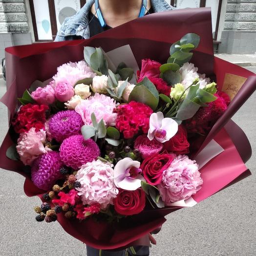 Стильный винный букет: букеты цветов на заказ Flowwow