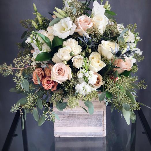 Tall Wood Box Arrangement 4: flowers to order Flowwow