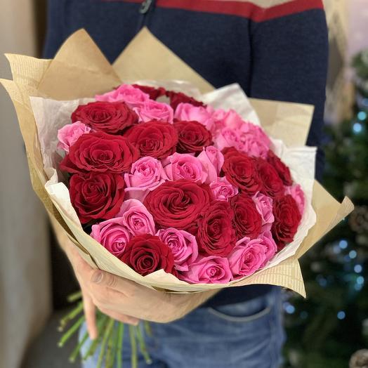Букет роз микс 51 шт: букеты цветов на заказ Flowwow