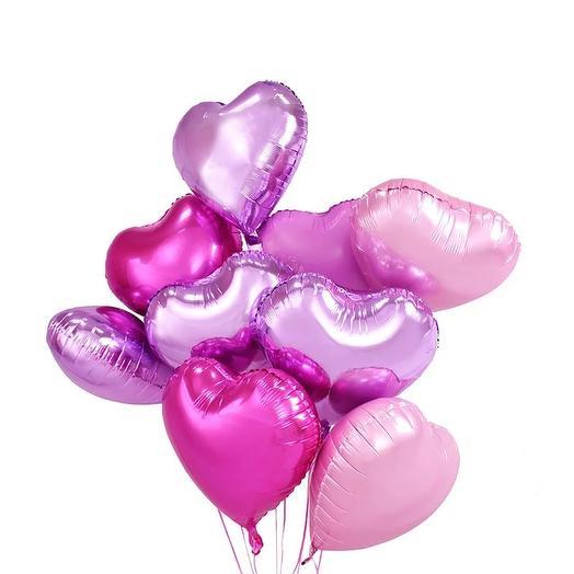 "9 гелиевых шаров "" Сердце "": букеты цветов на заказ Flowwow"
