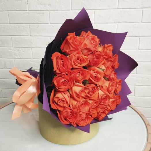 Букет 25 Мандариновых Роз