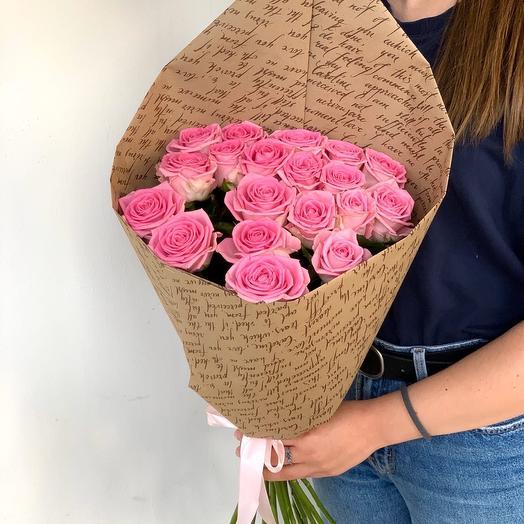 19 розовых роз краф