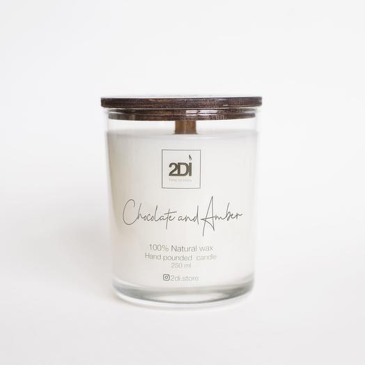 Натуральная аромасвеча ручной работы 190 мл, хлопковый фитиль -Chocolate   Amber, Шоколад и амбра